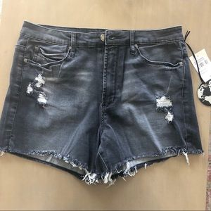 Articles of Society distressed black jean shorts